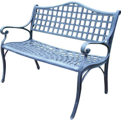 Elite Cast Aluminum Outdoor Settee Bench, Grey