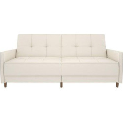 Andora Coil Futon – White Faux Leather – Dorel Home Products