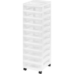 Iris 10-Drawer Plastic Storage Rolling Cart, White