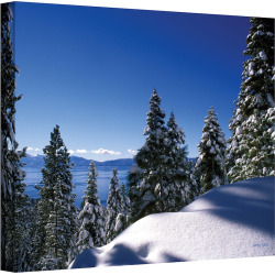 "32″ x 48″ ""Lake Tahoe in Winter"" Canvas Wall Art by Kathy Yates, Blue"