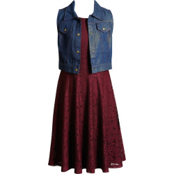 Girls 7-16 Emily West Sleeveless Crochet Dress & Glitter Vest, Size: 8, Dark Red