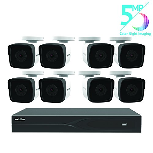 LaView 8 Channel 5MP Business and Home Security Cameras System 2TB HDD Surveillance DVR with 8 5MP Color Night Vision Bullet Cameras
