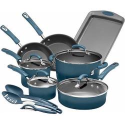Rachael Ray Porcelain Enamel Aluminum Nonstick 14 piece Cookware Set – Marine Blue