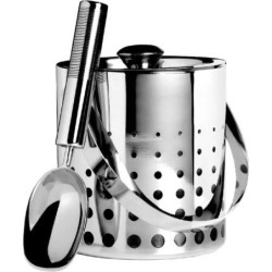 Mikasa Cheers Stainless Steel Ice Bucket and Scoop, Grey