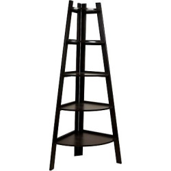 Five Tier Corner Ladder Display Bookshelf, Black/White