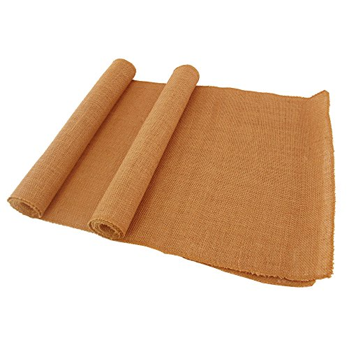 BambooMN Pumpkin 15″ x 88″ Vintage Hemp Burlap Table Runner For Rustic Wedding Bridal Shower Bachelorette Graduation Party Table Decor Decorations – 30 Pcs