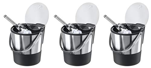 Oggi Double Wall Ice Bucket with Flip Lid and Stainless Ice Scoop (Pack of 3)