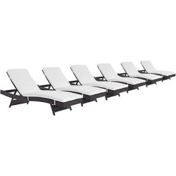 convene chaise outdoor patio set of 6 in espresso white modway - Allshopathome-Best Price Comparison Website,Compare Prices & Save