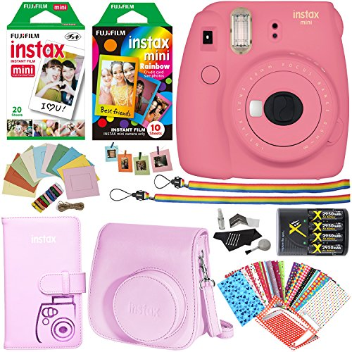 fujifilm instax mini 9 instant camera flamingo pink 1 rainbow film pack 1 - Allshopathome-Best Price Comparison Website,Compare Prices & Save