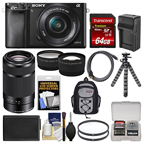 sony alpha a6000 wi fi digital camera 16 50mm lens black with 55 210mm - Allshopathome-Best Price Comparison Website,Compare Prices & Save