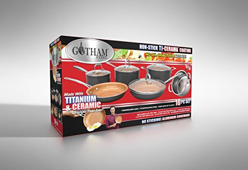 Gotham Steel 10-Piece Kitchen Set with Non-Stick Ti-Cerama Coating by Chef Daniel Green – Includes Skillets, Fry Pans, Stock Pots and Steamer Insert – Graphite