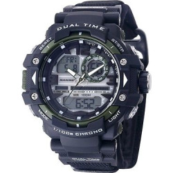 Men's U.S. Marine Corps C41 Multifunction Watch By Wrist Armor-Black And Green Dial – Black Nylon Strap, Size: Small