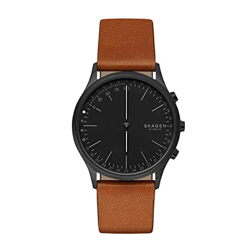 Skagen Jorn Stainless Steel IP and Leather Hybrid Smartwatch, Color: Black IP, Cognac SKT1202
