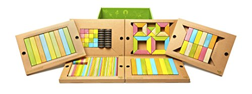 Tegu 130 Piece Classroom Magnetic Wooden Block Set, Tints