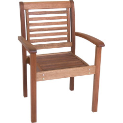 Amazonia Milano Outdoor Stacking Arm Chair, Brown