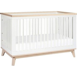 Babyletto Scoot 3-in-1 Convertible Crib with Toddler Rail – White/Washed Natural