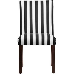 Uptown Dining Chair – Painted Check Ink – Skyline Furniture, White/Black