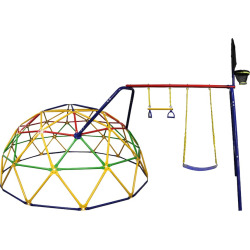 Skywalker Sports 10-Foot Geo Dome Climber with Swing Set & Basketball Hoop Accessory, Multicolor