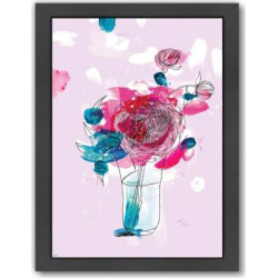 Americanflat Paula Mills Pink Flowers 2 Framed Wall Art, Multicolor