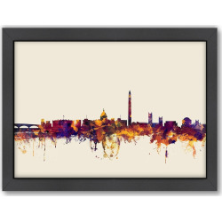"Americanflat Michael Tompsett ""Washington DC Skyline"" Framed Wall Art, Purple"