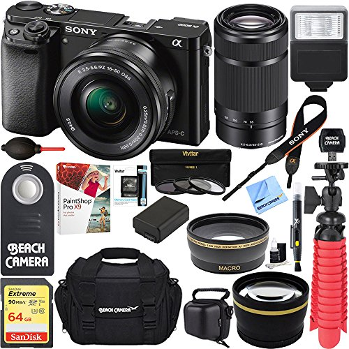 Sony Alpha a6000 24MP Mirrorless Camera 16-50mm & 55-210mm Zoom Lens + 64GB Accessory Bundle + Deluxe Gadget Bag + Extra Battery+Wide Angle Lens+2x Telephoto Lens (Essential Kit, Black)