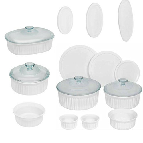 Corningware French 18-Piece Round and Oval Bakeware Set, White