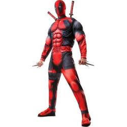 Marvel Men's Deluxe Deadpool Costume Red