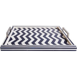 Liv Navy/White Rectangle Bone Tray – Go Home, Classic Navy