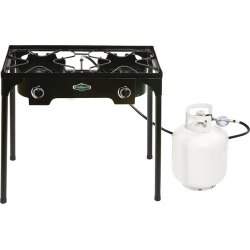 Stansport 2-Burner Outdoor Stove with Stand, Black