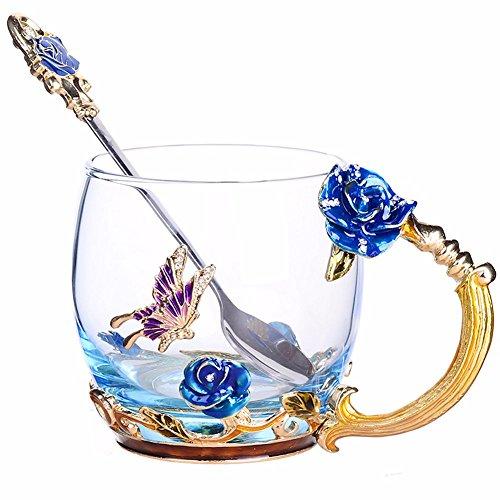 NBHUZEHUA Unique 2018 New Year Christmas Gift for Women Novelty Flower Glass Tea Cups Coffee Mug 02