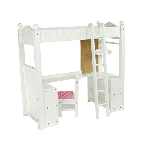 Teamson Design Corp Olivia's Little World – Princess College Dorm Double Bunk Desk (Grey Polka Dots) | Wooden 18 inch Doll Furniture