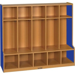 ECR4Kids 5 Section Coat Locker with Bench – Blue