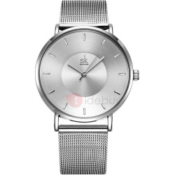 Ultra Thin Dial Quartz Stainless Steel Watch