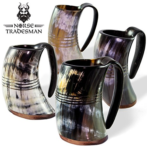 "Norse Tradesman Genuine Viking Drinking Horn Mug Tankard Set (4) | Ring Engravings – ""The Eternal"""