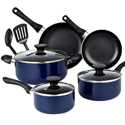 Cook N Home 10-Piece Nonstick Black Stay Cool Handle Cookware Set, Blue