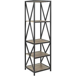 Metal X Tower with Wood Shelves – Driftwood (Brown) – Saracina Home