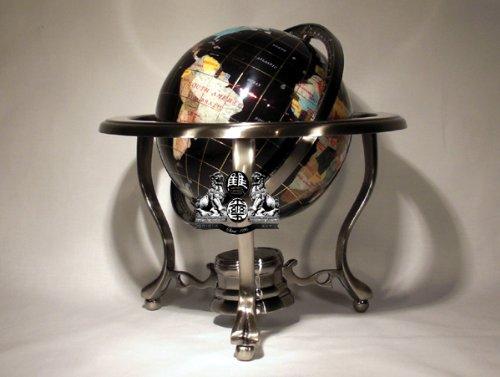 14″ BLACK ONYX GEMSTONE GLOBE with Silver Stand