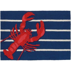 Frontporch Indoor/Outdoor Lobster On Stripes Rug 30″X48″ Navy – Liora Manne, Blue
