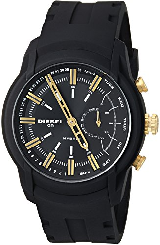 Diesel Men's 'Armbar Hybrid' Quartz Rubber and Silicone Smart Watch, Color Black (Model: DZT1014)