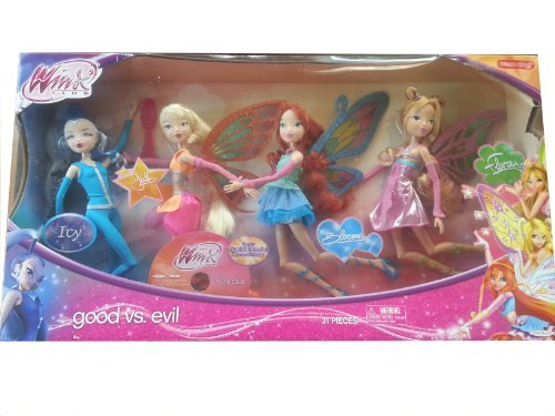 Winx Club Good vs Evil 4 Pack Icy Bloom Stella Flora 11.5″ Enchantix Dolls