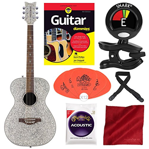 Daisy Rock Pixie Acoustic Guitar, Silver Sparkle with Guitar for Dummies, Guitar Pick, Tuner, and Deluxe Bundle