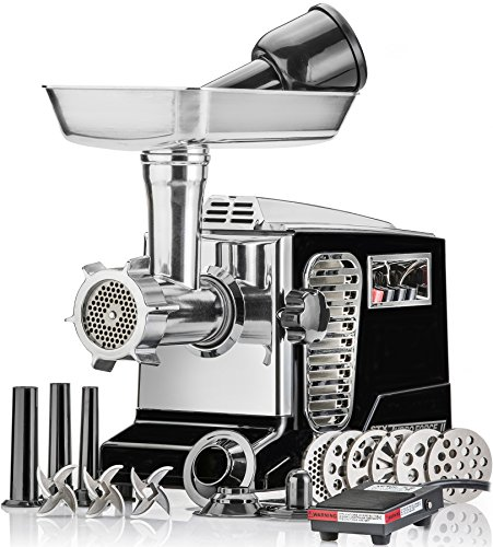 Electric Meat Grinder – Size #12 – Model STX-4000-TB2-PD – STX International Turboforce II – Air Cooling Patent – Foot Pedal Control, 6 Grinding Plates, 3 Cutting Blades, Kubbe & Sausage Tubes – Black