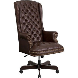 Executive Swivel Office Chair Brown Leather – Flash Furniture