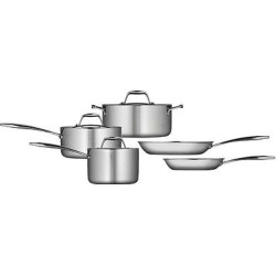 Tramontina Gourmet Tri-Ply Clad Induction-Ready Stainless Steel (Silver) 8 pc Cookware Set
