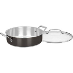 Cuisinart Black Stainless Steel 4-qt. Casserole Pan with Cover