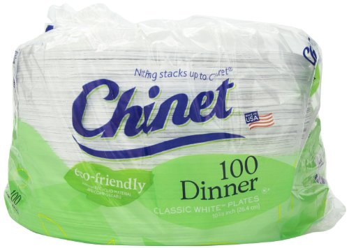 Chinet Economy Pack- 10 3/8 Dinner Plate Value Pkg 400 Plates Total (Classic)