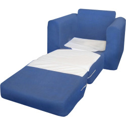 Fun Furnishings Blue Microsuede Sleeper Chair – Kids