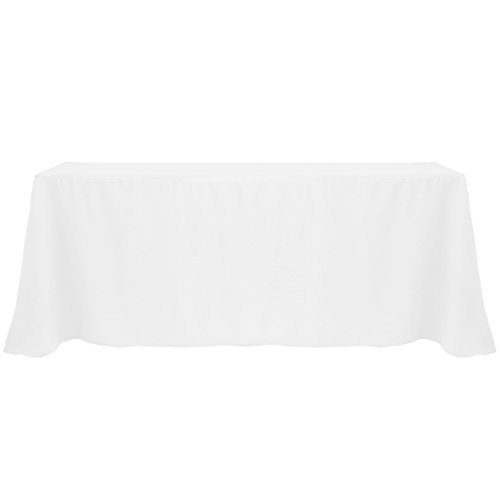 Ultimate Textile -3 Pack- 90 x 132-Inch Rectangular Polyester Linen Tablecloth with Rounded Corners – for Wedding, Restaurant or Banquet use, White