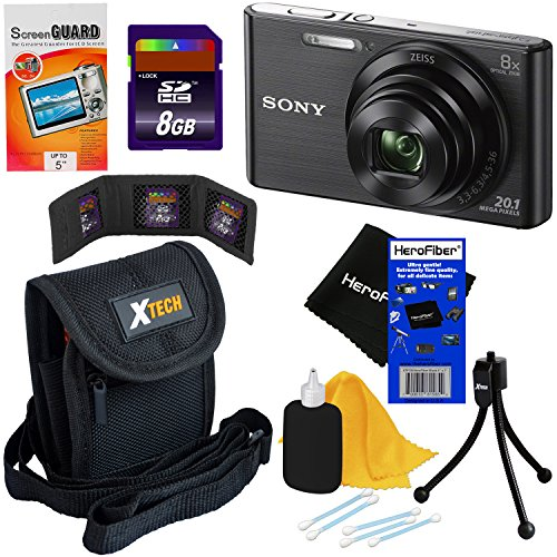 Sony Cyber-shot DSC-W830 20.1 MP Digital Camera with 8x Optical Zoom and Full HD 720p Video (Black) – International Version + 7pc Bundle 8GB Accessory Kit w/ HeroFiber® Ultra Gentle Cleaning Cloth