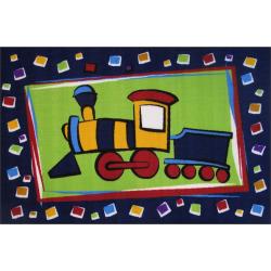 """Fun Rugs Fun Time Choo Choo Train Rug – 3'3″ x 4'10"""", Multicolor"""